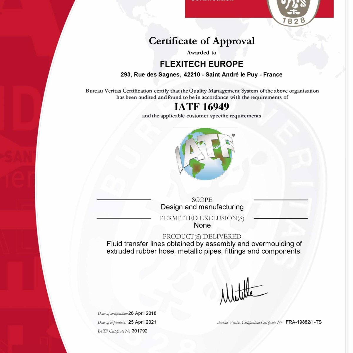 06/2018 -Our plants in France, Romania, Brazil, US and Mexico received the new IATF certification