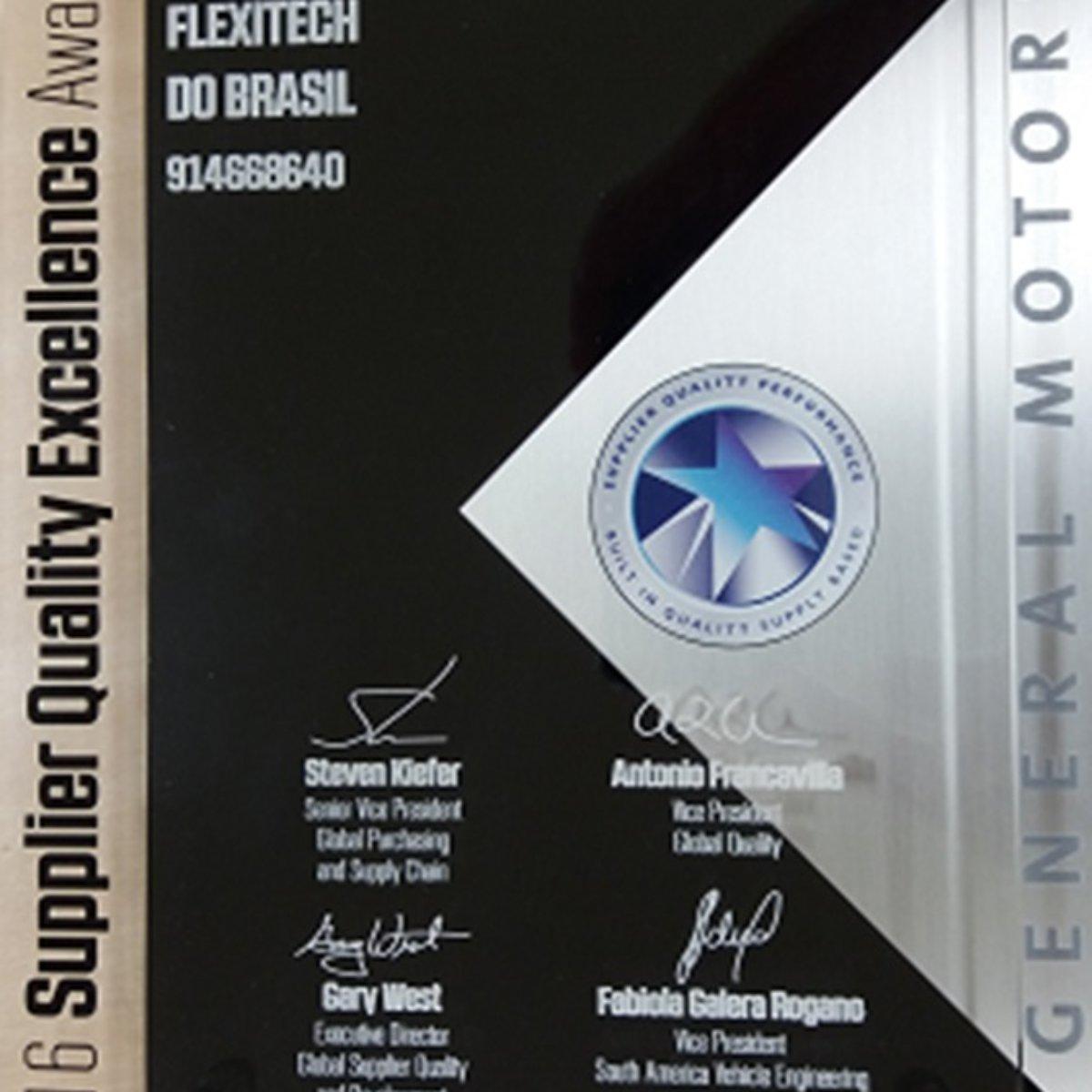 巴西收到GM SQ excellence awards 年度最佳供应商奖